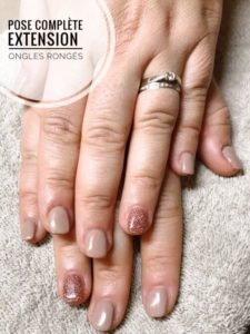 Pose complète extension ongles rongés