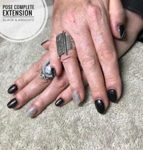 Pose complète extension black & argenté